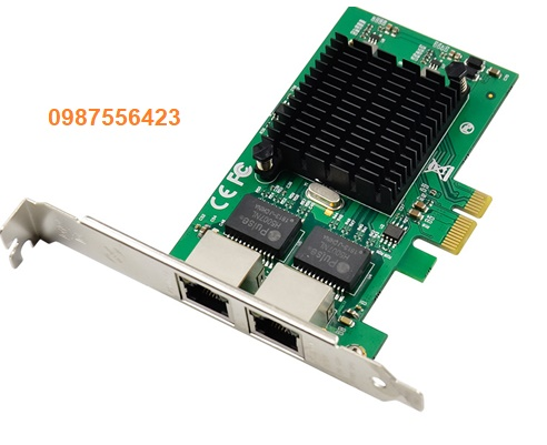 Card PCI Express x1 to 2 cổng lan RJ45 tốc độ 10/100/1000Mbps chip set intel JL82575